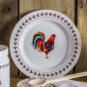 Talerz obiadowu płutki ceramiczny Dumny Kogucik