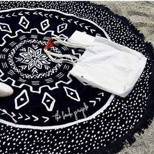 Ręcznik na plażę z frędzlami Ecarla Dots