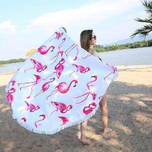Ręcznik na plażę okrągły z frędzlami Ecarla