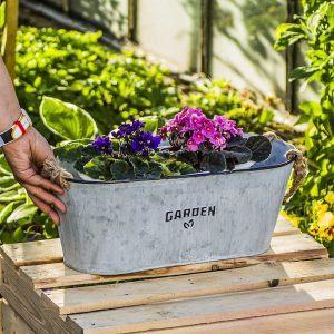 Osłonka na doniczkę ocynkowana Garden