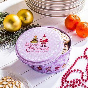 Puszka świąteczna na ciastka i pierniki metalowa Giwazdor