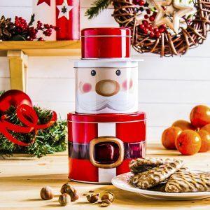 Puszka świąteczna na ciastka i pierniki metalowa Święty Mikołaj