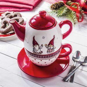 Dzbanek do herbaty i kawy ceramiczny z zaparzaczem Krasnale