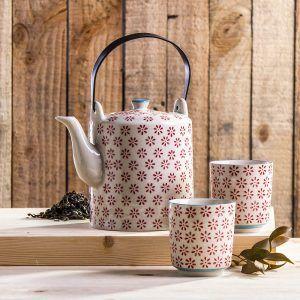 Dzbanek do herbaty i kawy z czarkami Duo Flowers