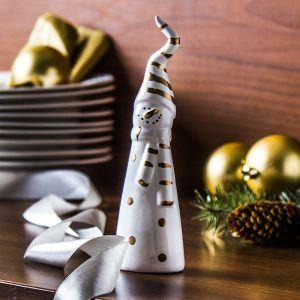Figurka świąteczna ceramiczna Bałwanek