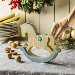 Drewniana figurka świąteczna Koń na biegunach