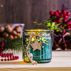 Lampion świąteczny szklany Xmas