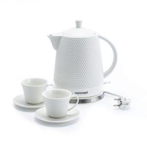 Czajnik ceramiczny elektryczny z filiżankami Concept
