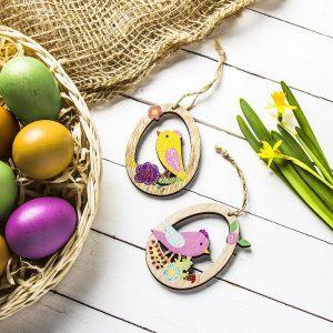Ozdoby wielkanocne drewniane ptaszek w jajku