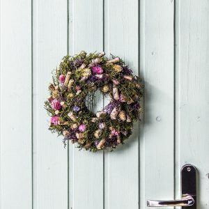 Wianek na drzwi drewniany z suszonymi kwiatami