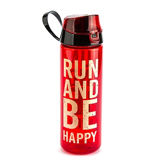Butelka na wodę plastikowa FLORINA RUN AND BE HAPPY CZERWONA 0,75 l