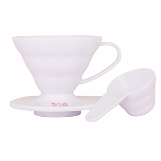 Dripper / Filtr do kawy plastikowy HARIO DRIPPER WHITE V60-01