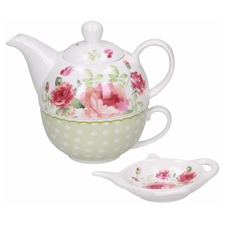 Dzbanek do herbaty z filiżanką porcelanowy DUO MARY ROSE  0,7 l