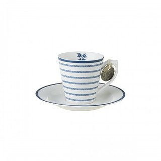 Filiżanka do espresso porcelanowa ze spodkiem LAURA ASHLEY CANDY STRIPE BIAŁA 80 ml