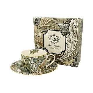Filiżanka do kawy i herbaty porcelanowa ze spodkiem DUO ART GALLERY BY WILLIAM MORRIS AUTUMN ZIELONA 240 ml