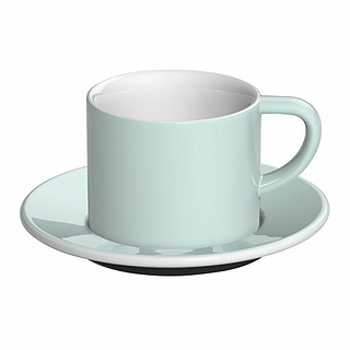Filiżanka do kawy i herbaty porcelanowa ze spodkiem LOVERAMICS BOND CAPPUCCINO RIVER BŁĘKITNA 150 ml