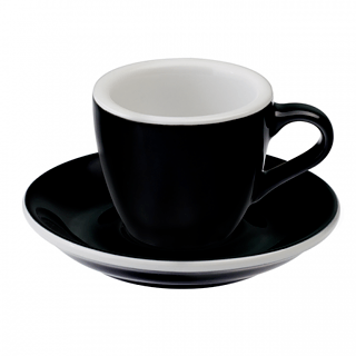 Filiżanka do espresso porcelanowa ze spodkiem LOVERAMICS EGG CZARNA 80 ml