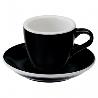 Filiżanka porcelanowa ze spodkiem LOVERAMICS EGG ESPRESSO BLACK 80 ml