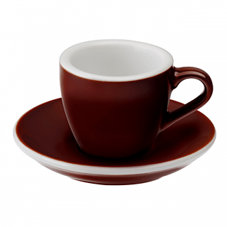 Filiżanka do espresso porcelanowa ze spodkiem LOVERAMICS EGG BRĄZOWA 80 ml