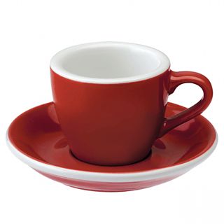 Filiżanka porcelanowa ze spodkiem LOVERAMICS EGG ESPRESSO RED 80 ml