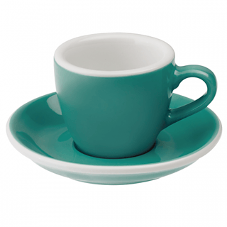 Filiżanka porcelanowa ze spodkiem LOVERAMICS EGG ESPRESSO TEAL 80 ml