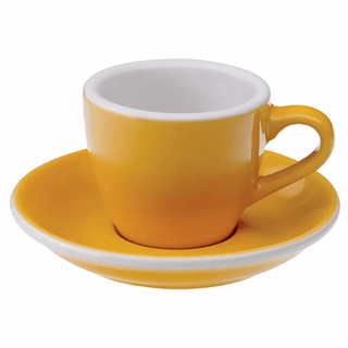 Filiżanka porcelanowa ze spodkiem LOVERAMICS EGG ESPRESSO YELLOW 80 ml