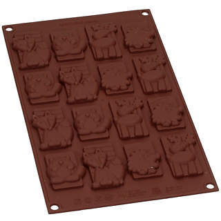 Forma silikonowa do 16 czekoladek SILIKOMART WINTER CHOCO TAGS
