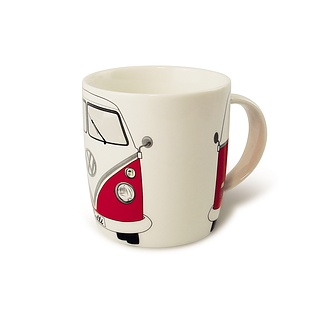 Kubek porcelanowy VOLKSWAGEN COLLECTION BY BRISA BUS RED BIAŁY 370 ml