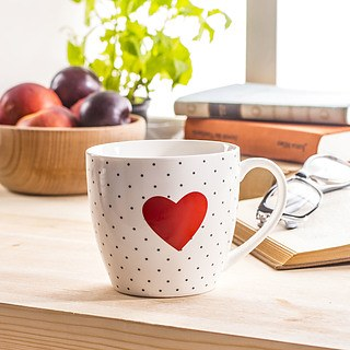Kubek porcelanowy DUO RED HEART BIAŁY 460 ml