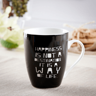 Kubek porcelanowy z napisem AFFEK DESIGN HAPPINESS 350 ml
