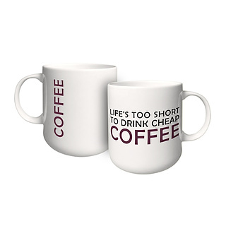 Kubek porcelanowy z napisem AMBITION FEELINGS COFFEE 460 ml
