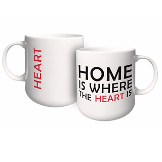 Kubek porcelanowy z napisem AMBITION FEELINGS HOME 460 ml