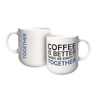 Kubek porcelanowy z napisem AMBITION FEELINGS TOGETHER 460 ml