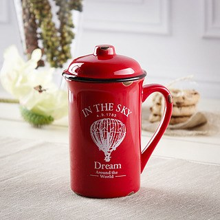 Kubek porcelanowy z pokrywką DREAM IN THE SKY RED 400 ml