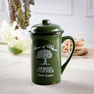 Kubek porcelanowy z pokrywką DREAM TREE GREEN 400 ml