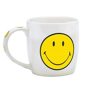 Kubek porcelanowy ZAK DESIGNS SMILEY BIAŁY 350 ml