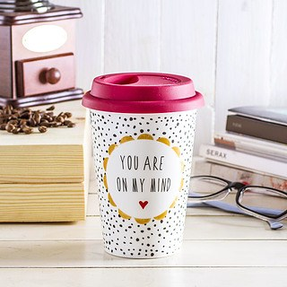Kubek porcelanowy z pokrywką DUO YOU ARE ON MY MIND BIAŁY 400 ml