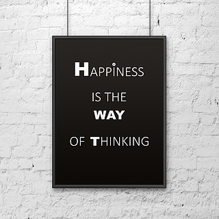 Plakat z napisami dekoracyjny DEKOSIGN HAPPINESS IS THE WAY OF THINKING BLACK 70 x 50 cm