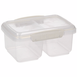 Lunch box plastikowy dwukomorowy SISTEMA LUNCH BOX MEDIUM SPLIT ACCENTS MIX KOLORÓW 0,8 l