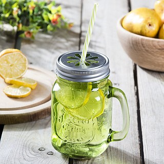 Słoik do koktajli i smoothie szklany REFRESHING ICE COLD DRINK ZIELONY 0,5 l