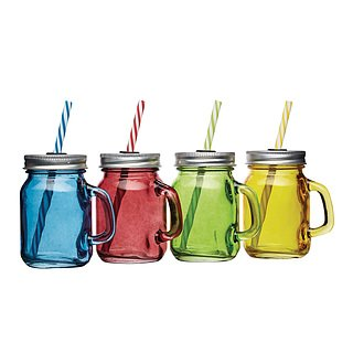 Słoiki do koktajli i smoothie szklane KITCHEN CRAFT GLASS WIELOKOLOROWE 4 szt.