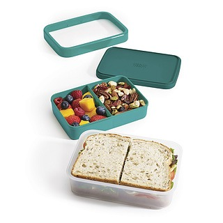Lunch box dwukomorowy plastikowy JOSEPH JOSEPH GOEAT TURKUSOWA
