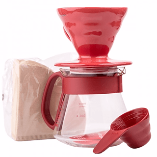 Zestaw do zaparzania kawy HARIO DRIPPER AND POT RED V60