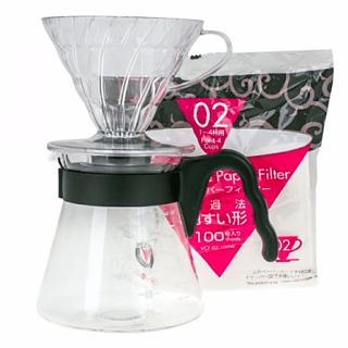 Dripper do kawy z dzbankiem plastikowy HARIO POUR OVER KIT V60