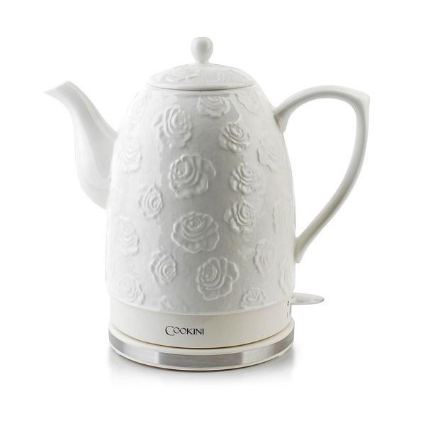 Wasserkocher Porzellan 1,5 L Teekocher Wasserkessel Weiß Rosen Blumen Neu 1200 W