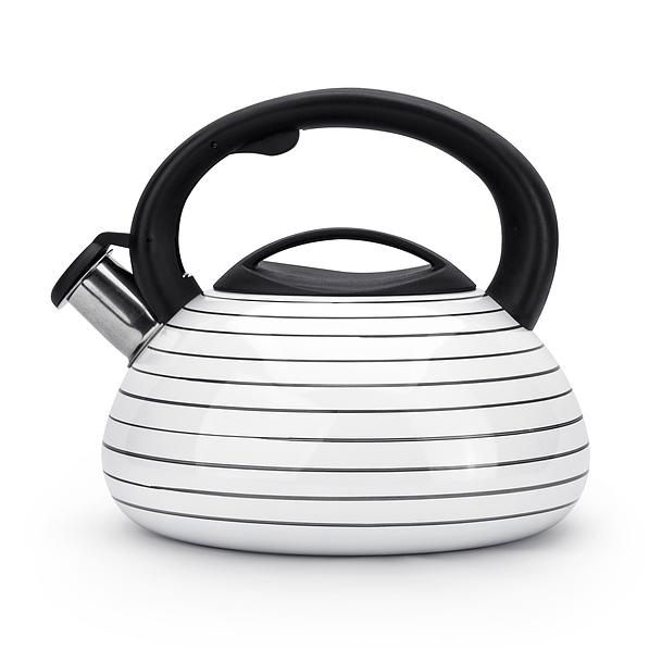 Wasserkessel Edelstahl 3,2 L Flötenkessel Teekessel Wasserkocher Induktion Weiß