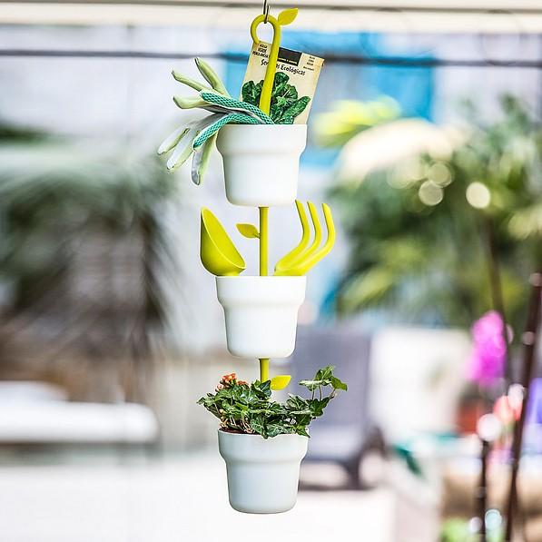 Doniczki Na Kwiaty Nylonowe Wiszące Vigar Green Collection Białe 3 Szt