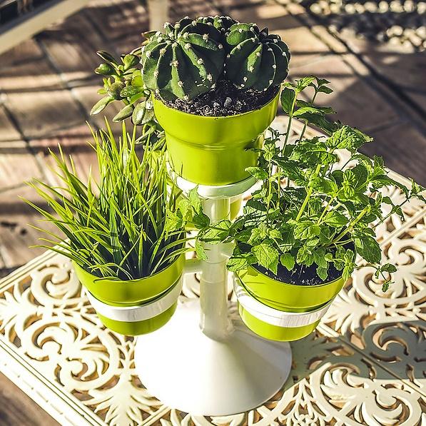 Doniczki Na Kwiaty Nylonowe Ze Stojakiem Vigar Green Collection Zielone 4 Szt