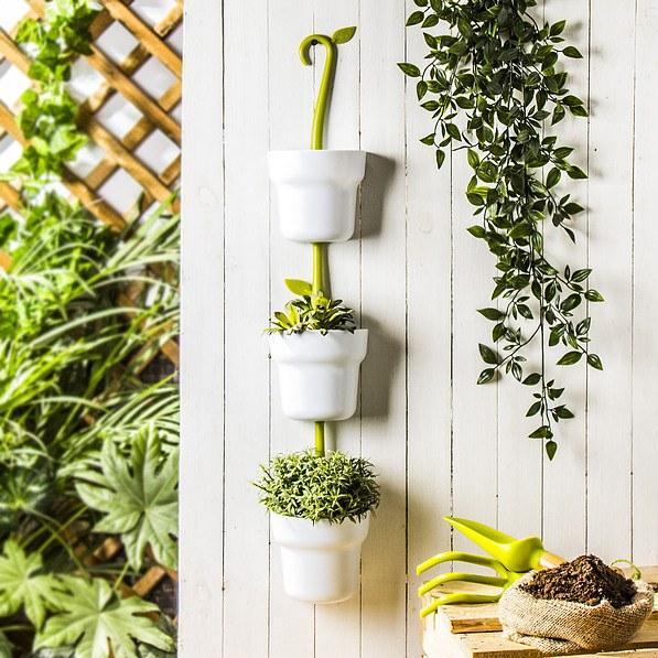 Doniczki Na Kwiaty Plastikowe Przyścienne Vigar Green Collection Modular Białe 3 Szt