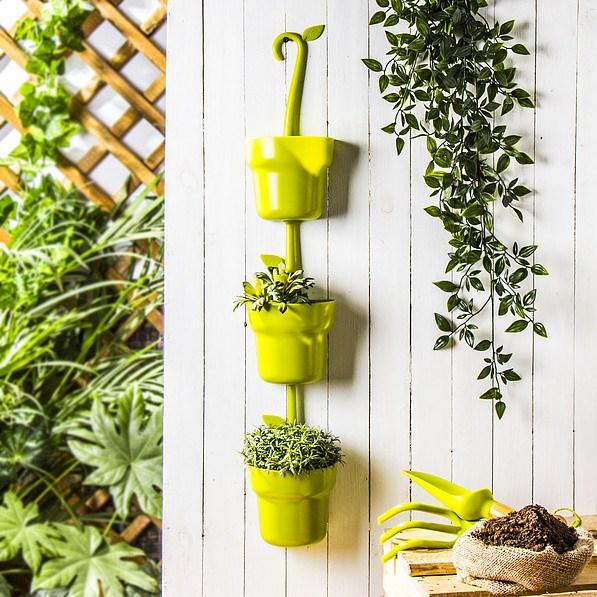 Doniczki Na Kwiaty Plastikowe Przyścienne Vigar Green Collection Modular Zielone 3 Szt